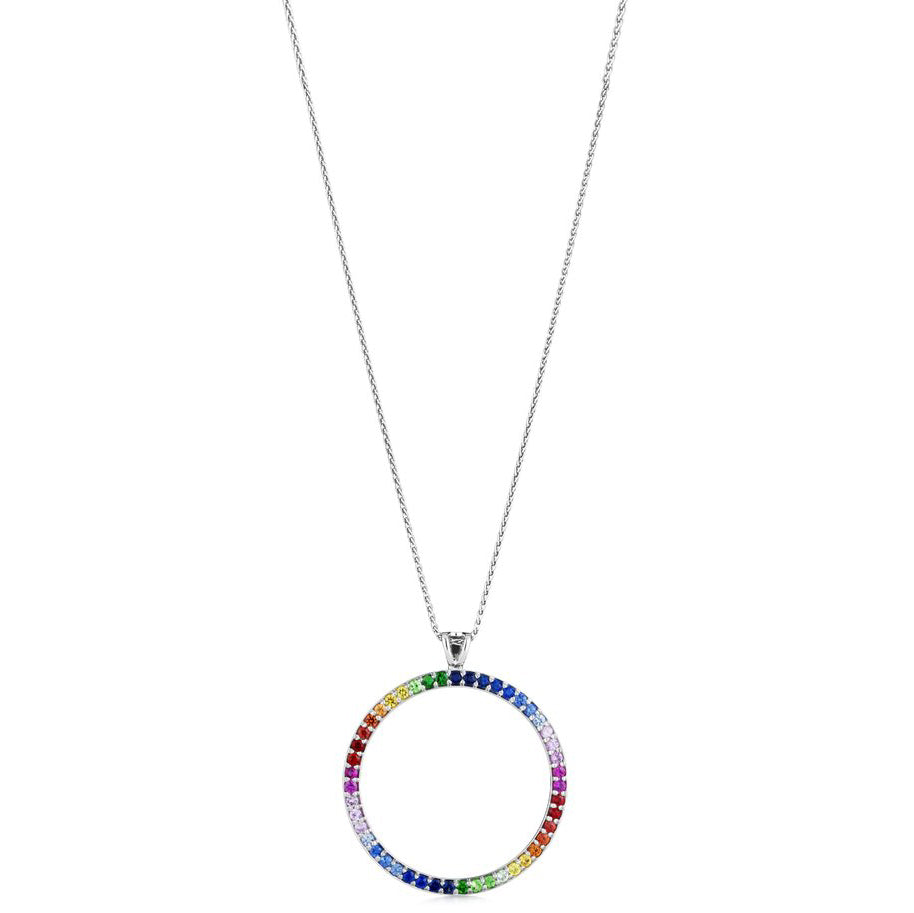 20mm  Rainbow circle pendant 18ct white gold