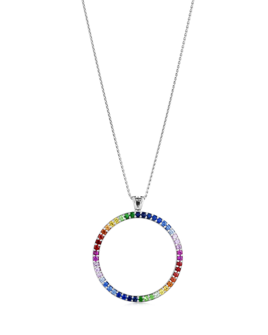 Rainbow circle pendant 18ct white gold