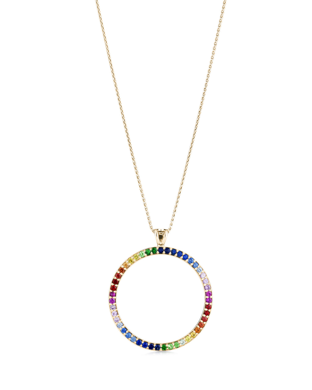 Rainbow circle pendant 18ct yellow gold