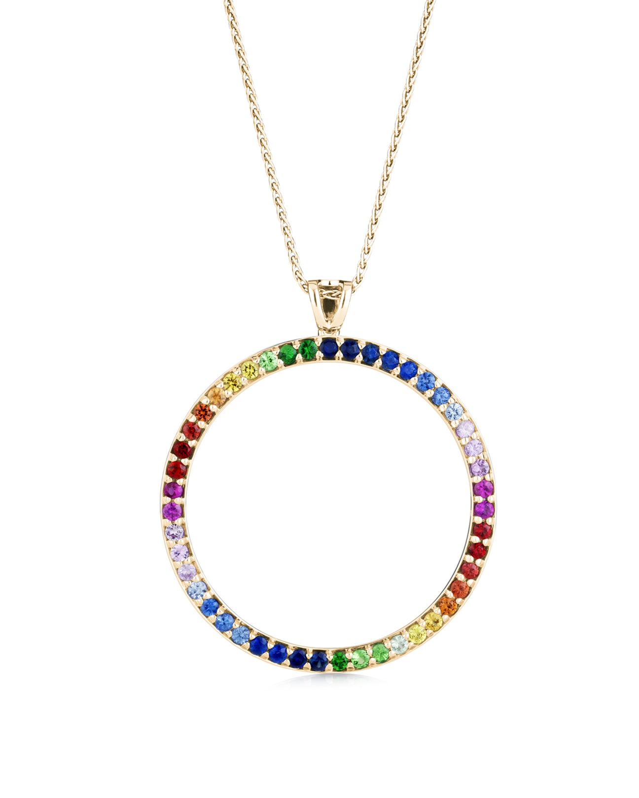 20mm Rainbow circle pendant 18ct yellow gold