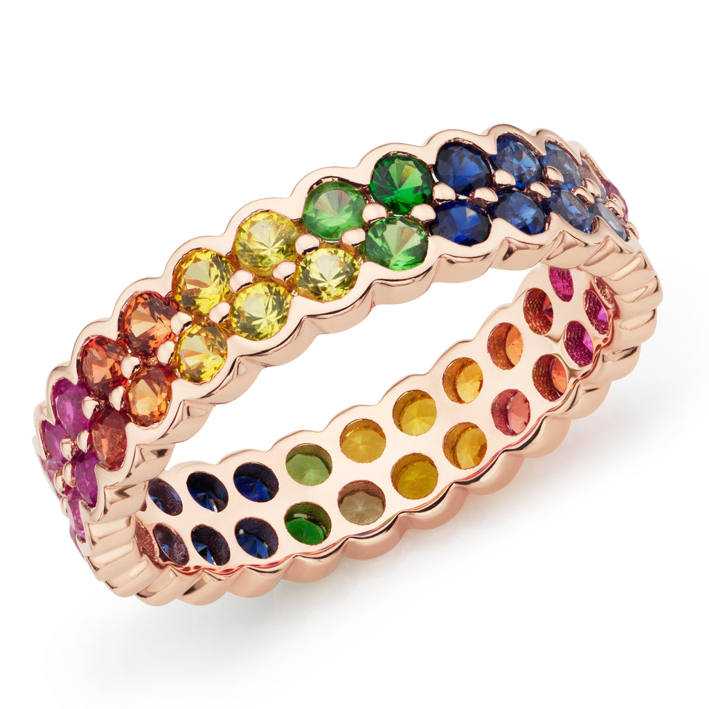 Rainbow full eternity ring 18ct rose gold
