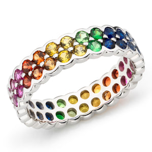 Rainbow full eternity ring 18ct white gold