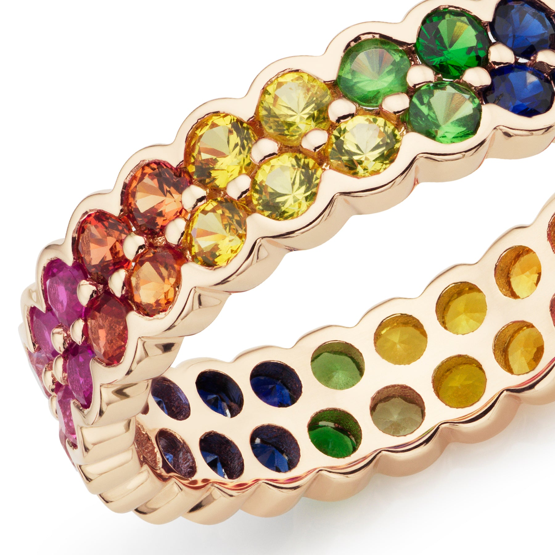 Rainbow full eternity ring 18ct yellow gold