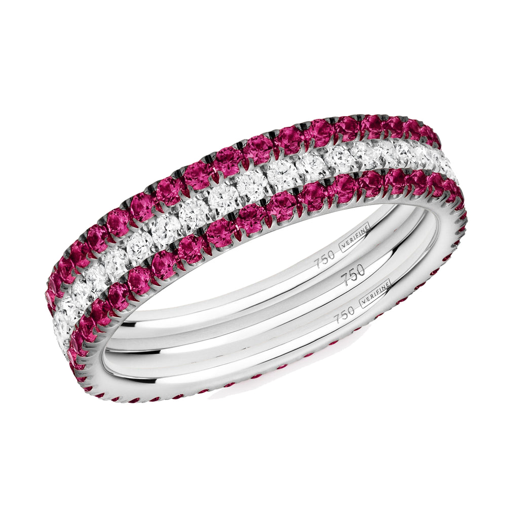 Red Hot eternity ring stack 18ct white gold