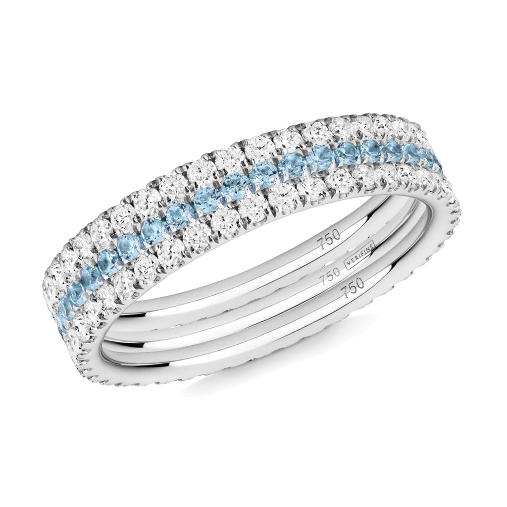 Royal Azure eternity ring stack 18ct white gold