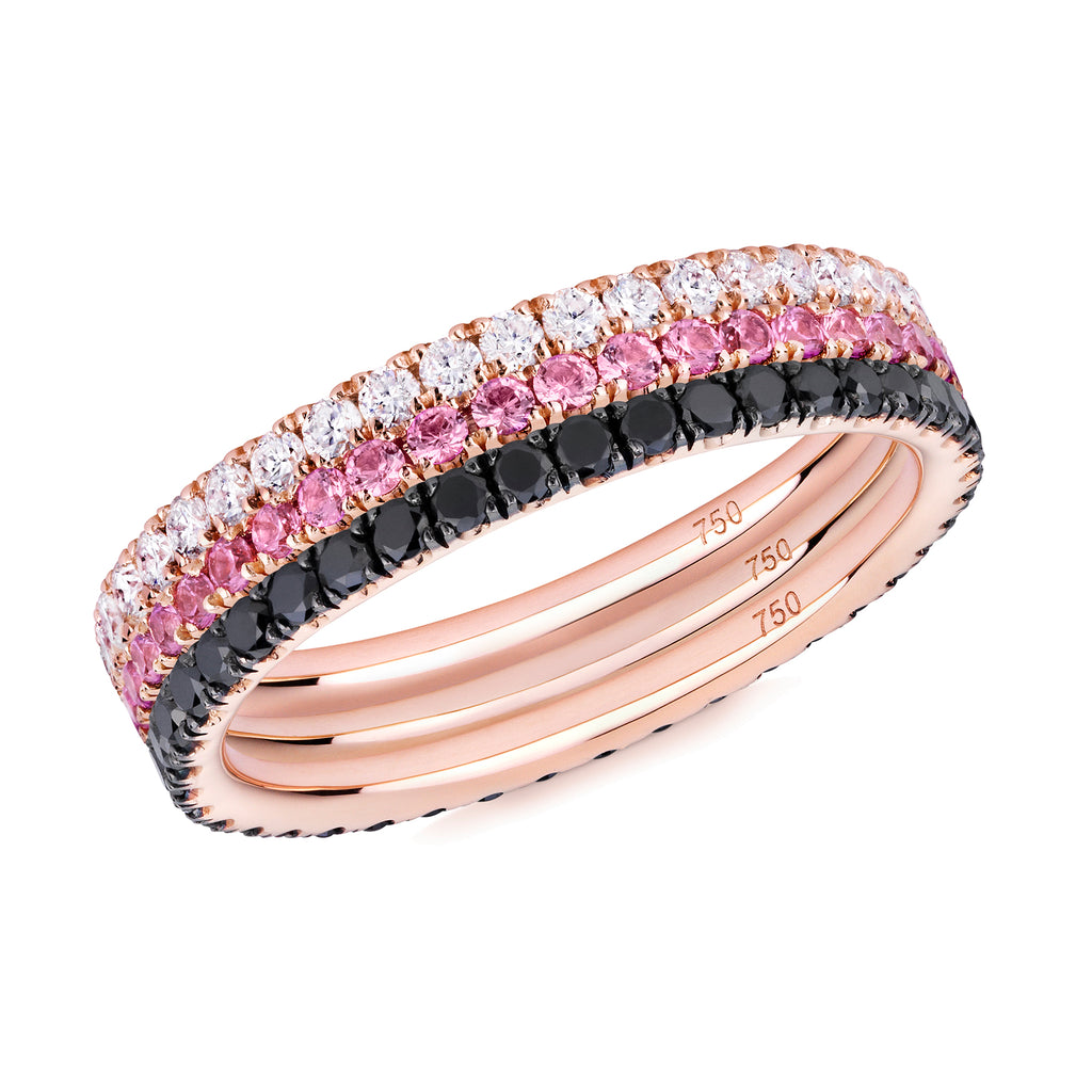 Three Roses eternity ring stack 18ct rose gold
