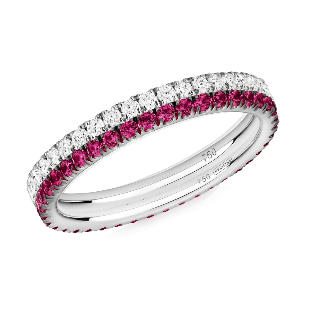 diamond and ruby ring pair