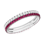 diamond and ruby eternity ring pair 18ct white gold