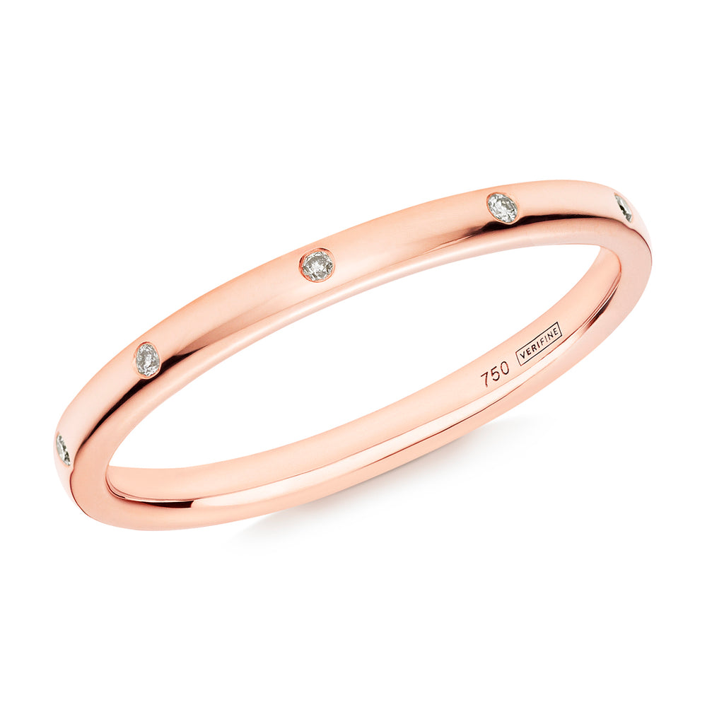 diamond 10-stone wedding ring 18ct rose gold