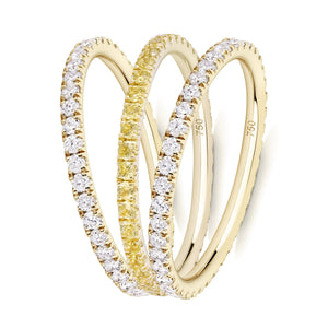 Yellowfine eternity ring stack
