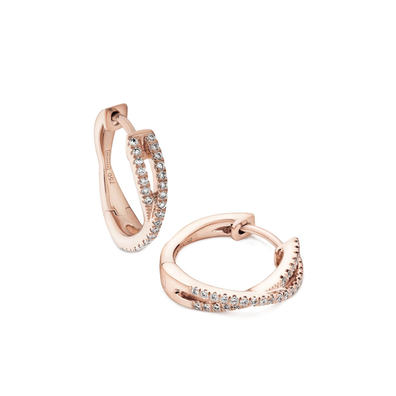 cross-over diamond mini hoops 18ct rose gold