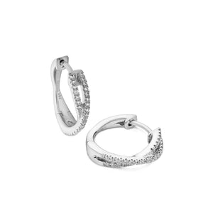 cross-over diamond mini hoops