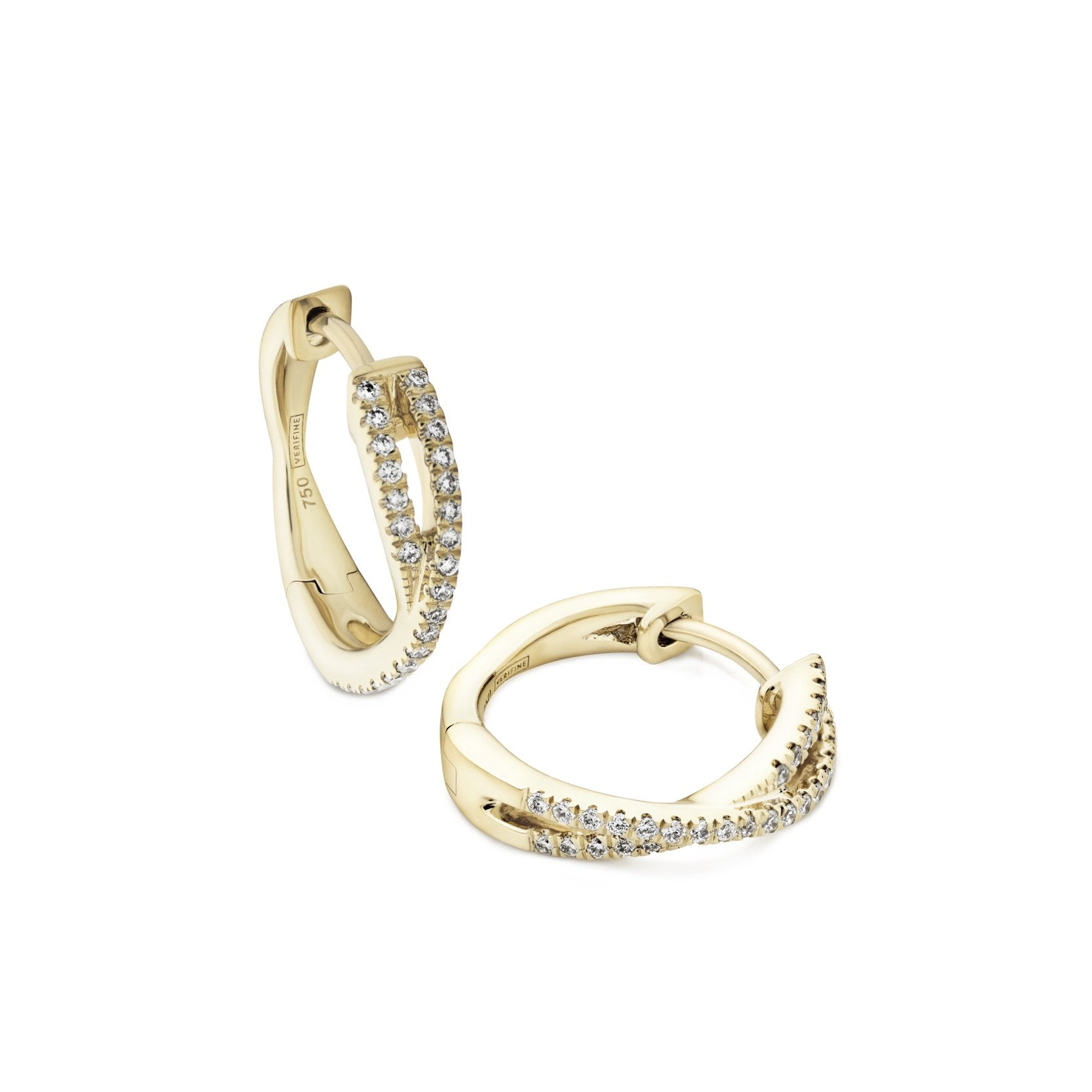 cross-over diamond mini hoops 18ct yellow gold