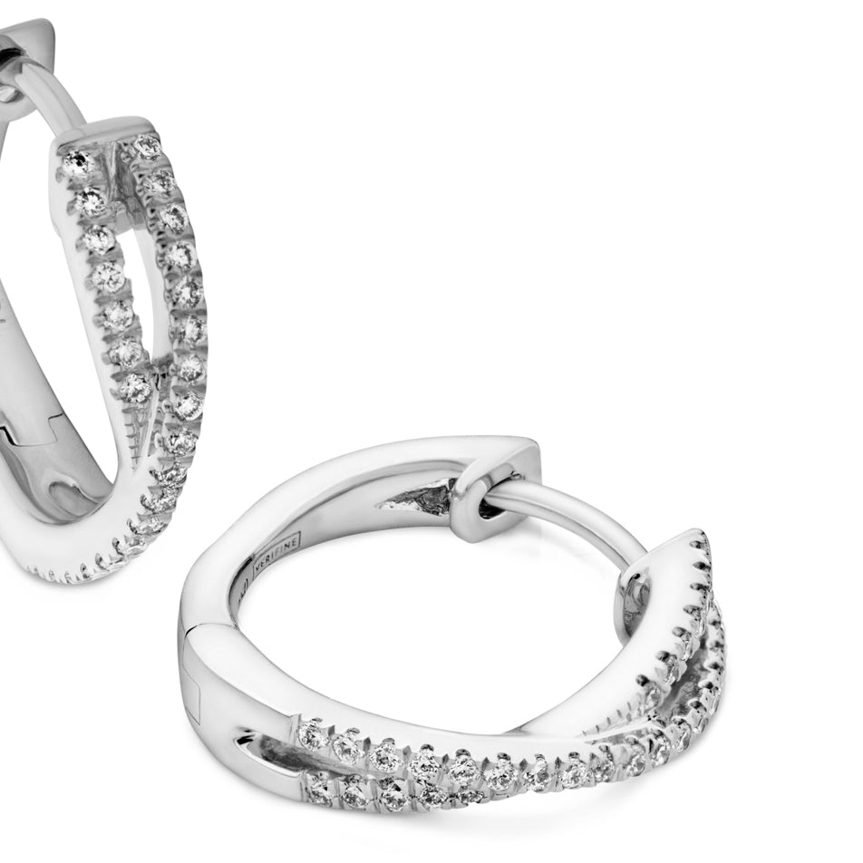 cross-over diamond mini hoops 18ct white gold
