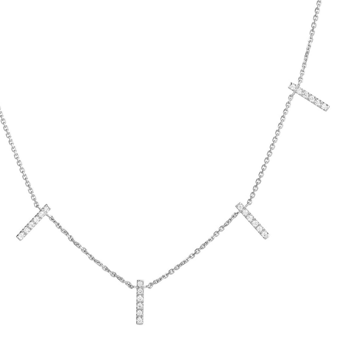 diamond skinny 5 bar necklace 18ct white gold