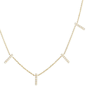 diamond skinny 5 bar necklace 18ct yellow gold