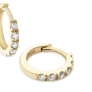 diamond huggie earrings 18ct yellow gold