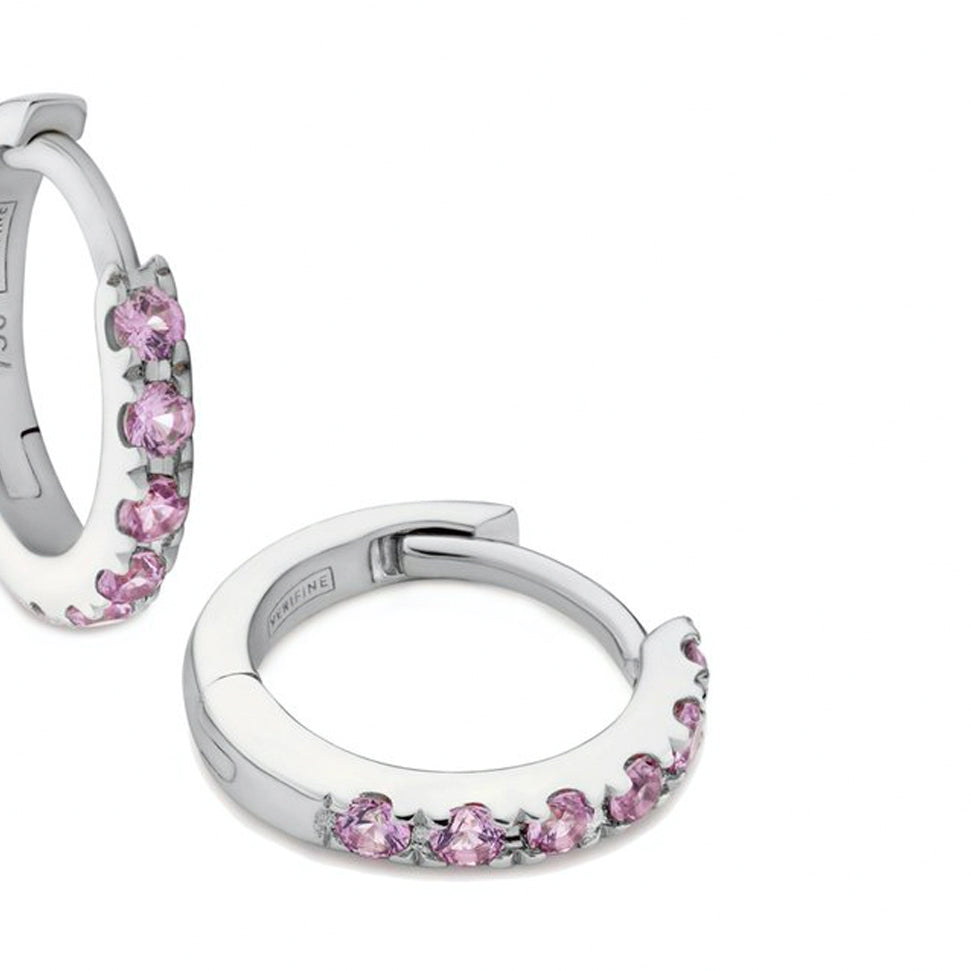 pink sapphire huggie earrings 18ct white gold