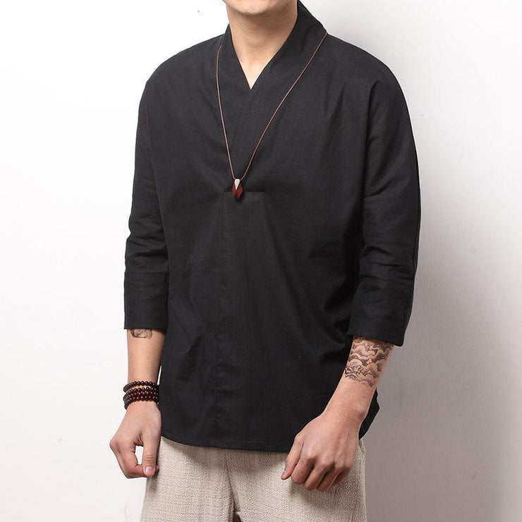 Black V-Neck Causal Kimono Shirt (No Buttons)