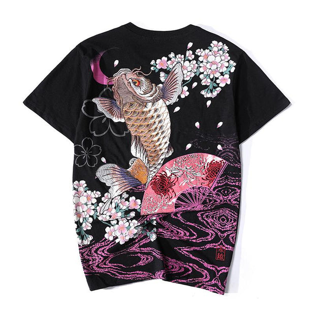 Blossom & Jumping Koi Embroidery T-Shirt