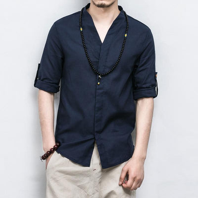 Blue V-Neck Causal Kimono Shirt (With Buttons)