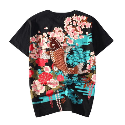 Brown Koi Embroidery T-Shirt