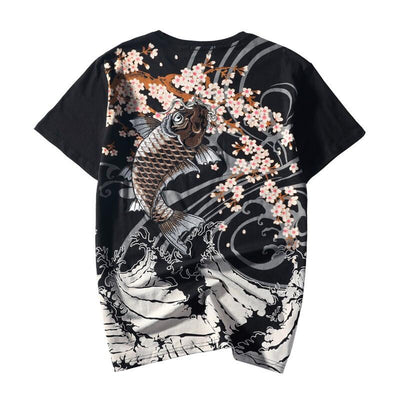 Brown Koi Sakura Embroidery T-Shirt