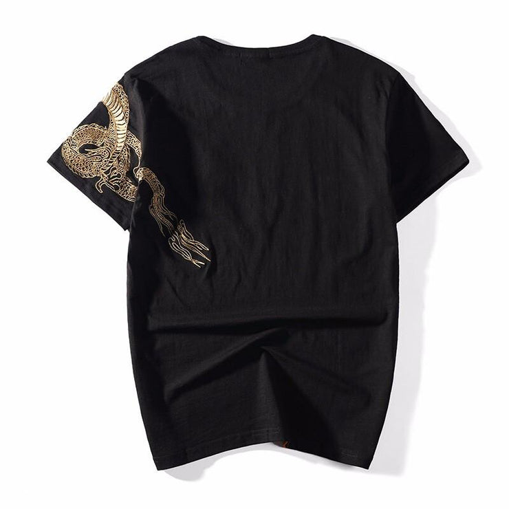 Dragon on Shoulder Embroidery T-Shirt