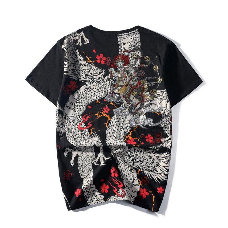 Dragon & Raijin Embroidery T-Shirt