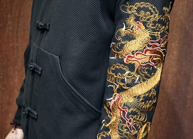 Golden Dragon Sleeve Embroidery Jacket