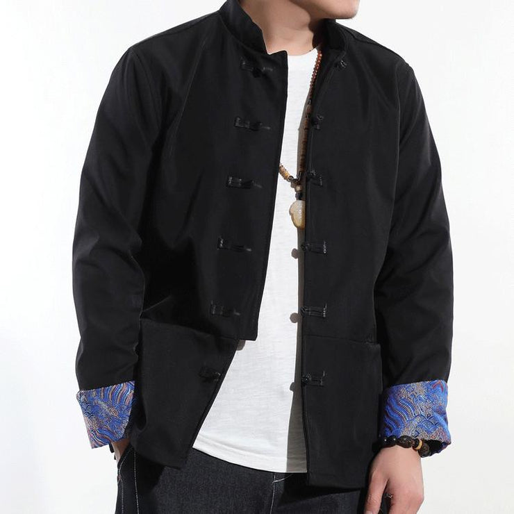 Blue Cuffs Embroidery Jacket