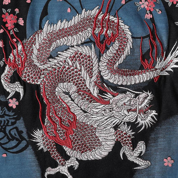 Japanese Dragon Embroidery T-Shirt