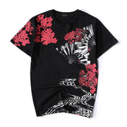 Folding Fan & Koi Embroidery T-Shirt