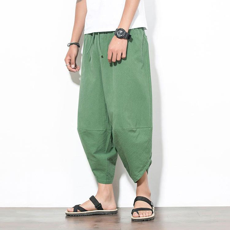 Solid Green Capri Cropped Pant