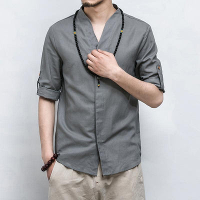 Grey V-Neck Causal Kimono Shirt (With Buttons)