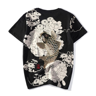 Koi & Chrysanthemum Embroidery T-Shirt