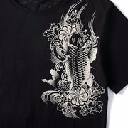 Koi & Dragon Embroidery T-Shirt