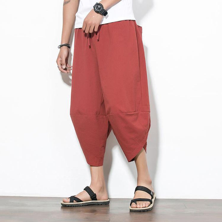 Solid Red Capri Cropped Pant