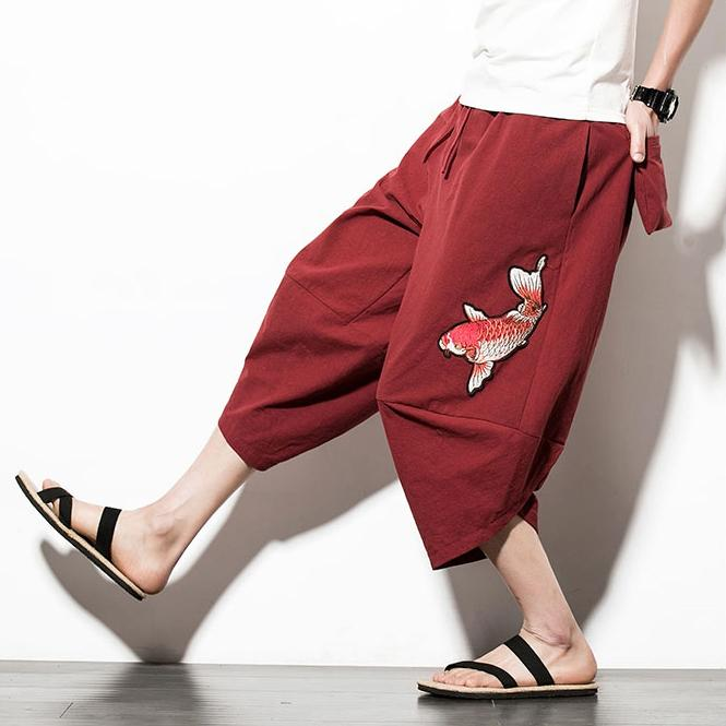 Red Koi Carp Capri Cropped Pant