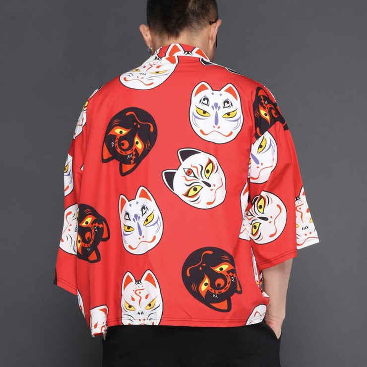Red Cat Mask Kimono Cardigan Shirt