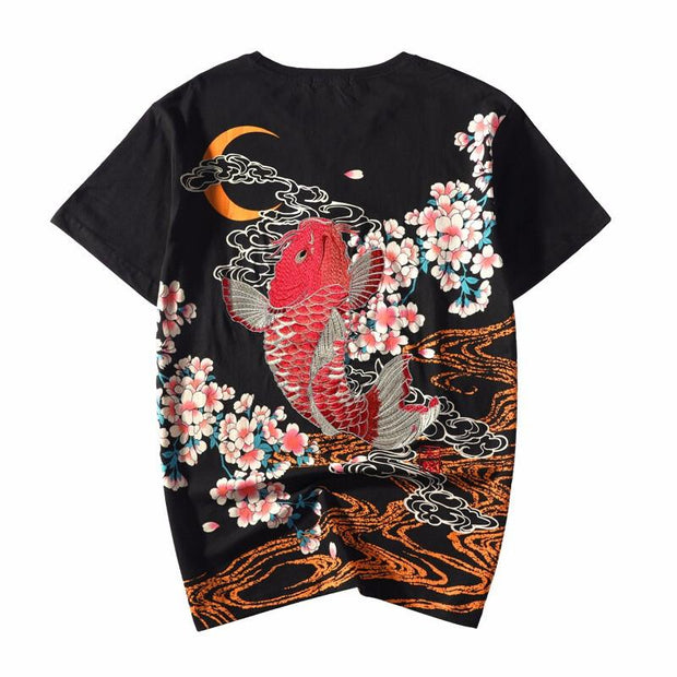 Red Koi Embroidery T-Shirt
