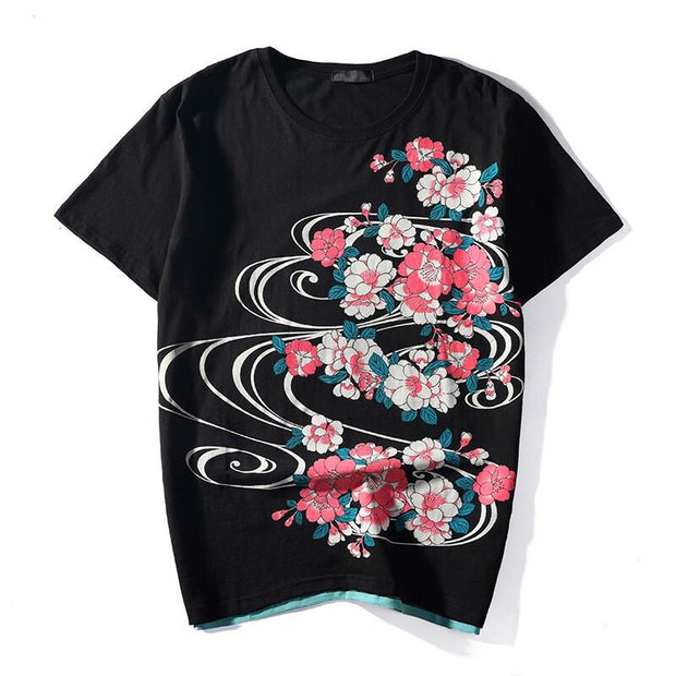Red Koi Sakura Embroidery T-Shirt