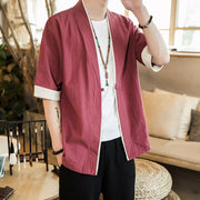 Red Short Sleeves Classic Kimono Cardigan
