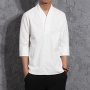 White V-Neck Causal Kimono Shirt (No Buttons)