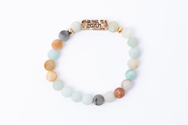 Have A Little Faith Bead Bracelet - FAITH - Green Sea Glass (7045)