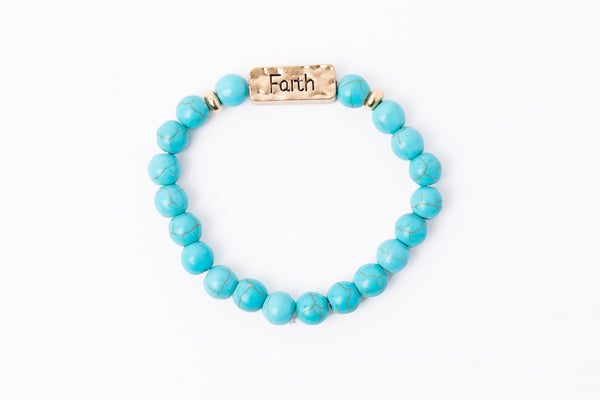 Have A Little Faith Bead Bracelet - FAITH - Turquoise (7046)