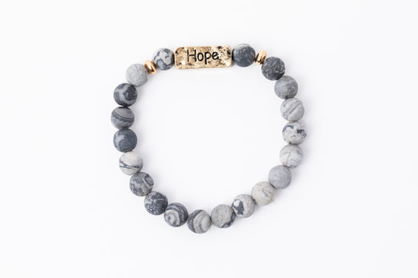 Have A Little Faith Bead Bracelet - HOPE - Gray Marble (7047)