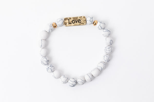 Have A Little Faith Bead Bracelet - LOVE - White Marble (7048)