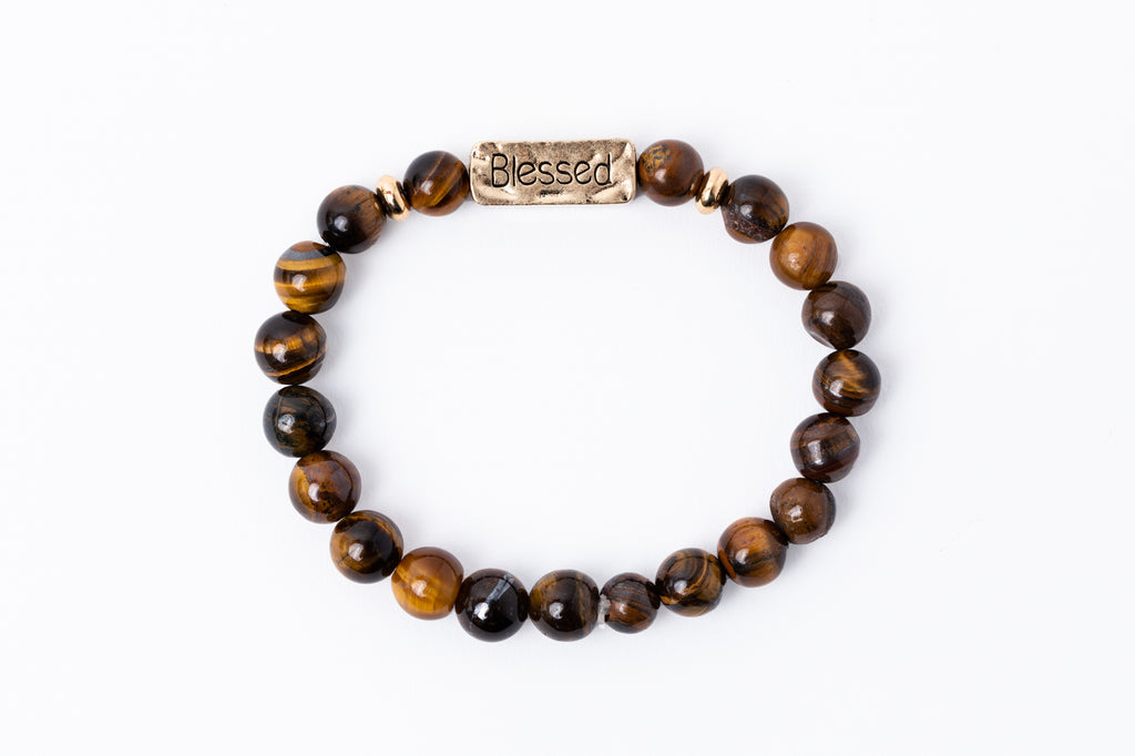 Have A Little Faith Bead Bracelet - BLESSED - Tiger's Eye (7049)