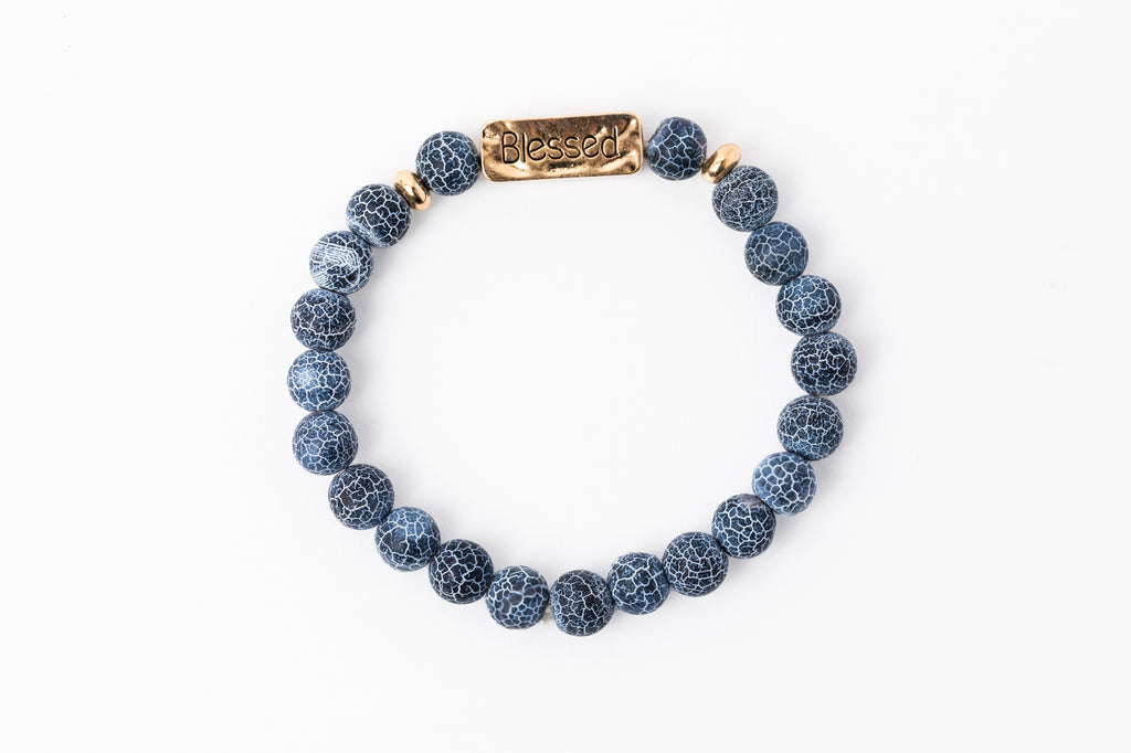 Have A Little Faith Bead Bracelet - BLESSED - Navy Marble (7050)